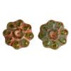 Glass Bead Flower 12mm Green Marble - Strung